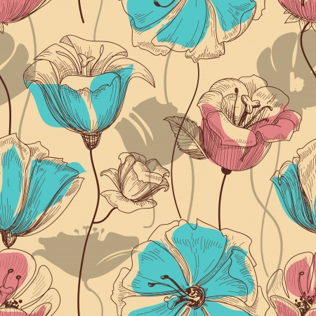 Photo for Retro floral seamless pattern - Royalty Free Image