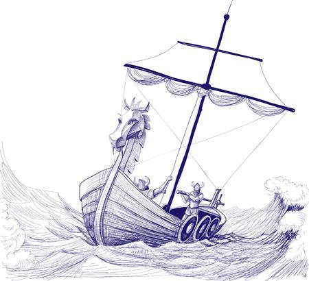 Illustration pour Long boat drakkar pencil drawing - image libre de droit