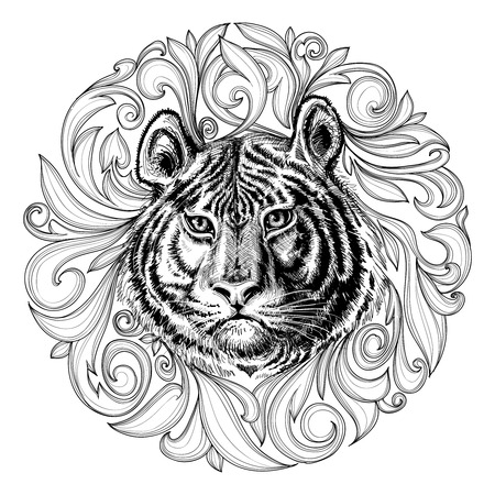 Illustration for Tiger face black and white abstract decoration  - Royalty Free Image