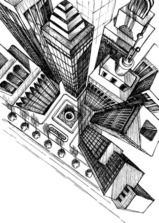 Ilustración de Top view of a city skyscrapers drawing, aerial view sketch - Imagen libre de derechos