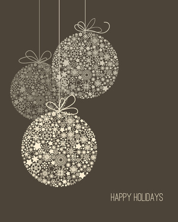 Illustration for Elegant Christmas background, snowflake pattern baubles - Royalty Free Image