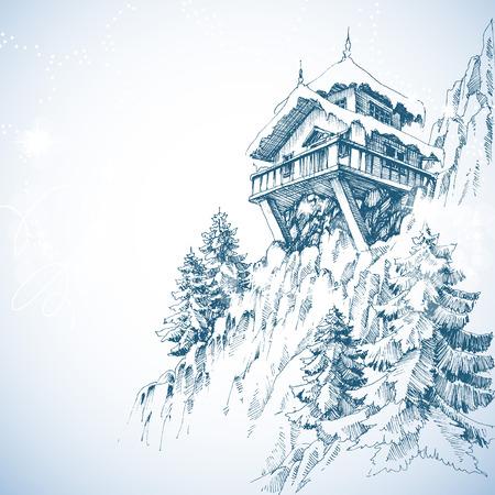 Illustration pour Mountain hut, pine tree forest, winter landscape - image libre de droit