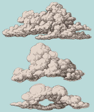 Illustration pour Detailed vintage style clouds vector set - image libre de droit