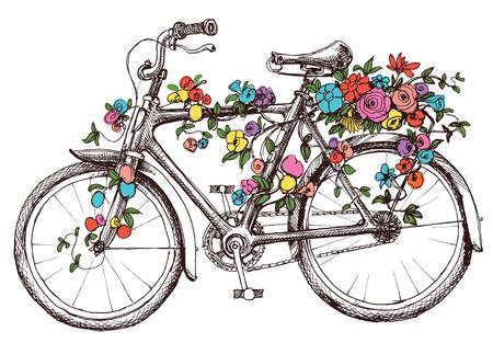 Illustration pour Bike with flowers, design element for wedding invitations or bridal shower - image libre de droit
