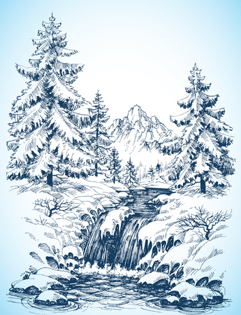 Illustration pour Winter snowy landscape, pine forest and river in the mountains drawing - image libre de droit