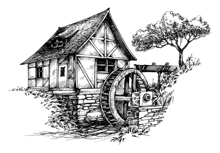 Illustration pour Old water mill sketch - image libre de droit