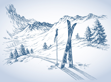 Illustration pour Ski background, mountains in winter season - image libre de droit