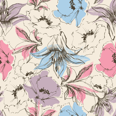 Illustration for Floral seamless pattern, lilies and poppy print on paper or textile support - Royalty Free Image