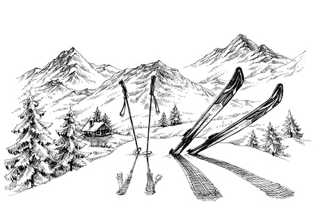 Illustration for Holidays at ski background, mountains panorama in winter sketch - Royalty Free Image