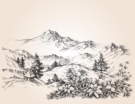 Illustration pour Mountains landscape sketch - image libre de droit