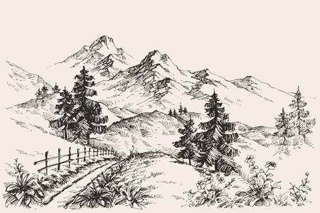 Ilustración de A path in the mountains sketch - Imagen libre de derechos