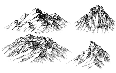 Illustration pour Mountain set. Isolated mountain peaks - image libre de droit