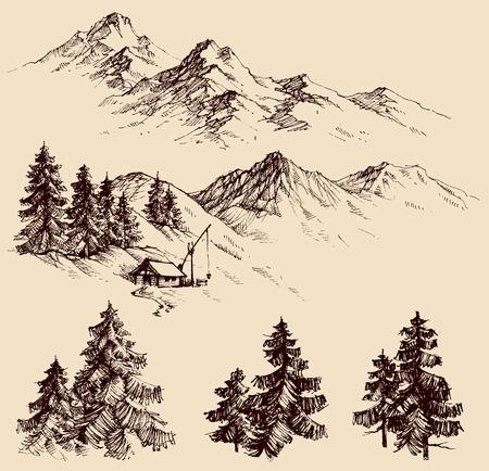Illustration pour Nature design elements, mountains and pine trees sketch - image libre de droit