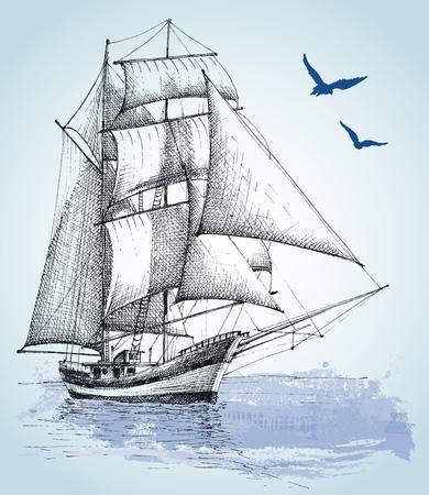 Illustration pour Boat drawing. Sailboat vector sketch - image libre de droit