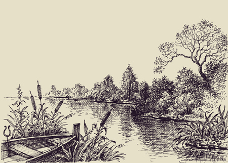 Illustration pour River flow scene. Hand drawn landscape, boat on shore - image libre de droit