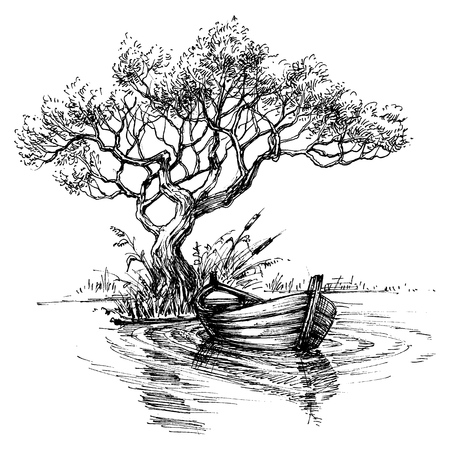 Illustration pour Boat on water under the tree sketch wallpaper - image libre de droit