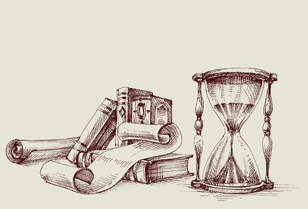Illustration pour Diploma or certificate vintage design elements, study table. Old books, scroll and hourglass retro stand. - image libre de droit