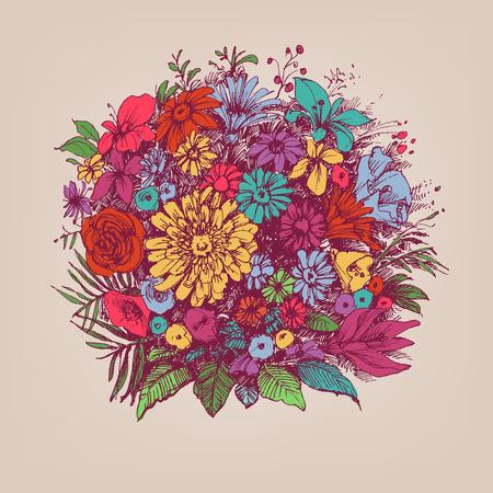 Illustration for Floral bouquet. Round floral arrangement or floral frame. - Royalty Free Image