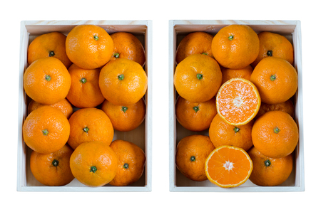 Photo for Oranges in wooden crates isolated on white background. (Top view from above) - Royalty Free Image