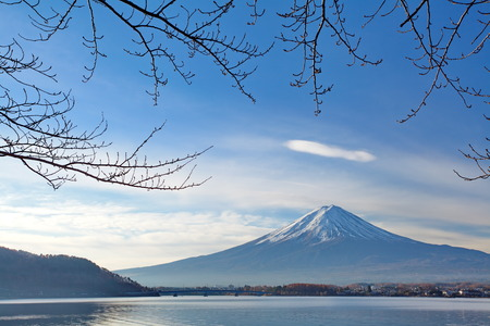 Mountain Fuji in winter morning from lake kawaguchiko , yamanashi prefecture