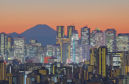 Photo pour Tokyo cityscape and Mountain fuji at twilight - image libre de droit