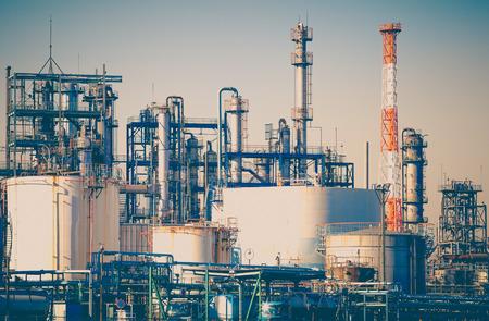 Foto de Industrial view at oil refinery plant form industry zone - Imagen libre de derechos