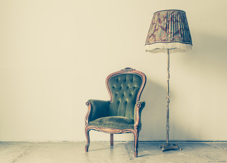 Photo for Vintage and antique chair with white wall background - Royalty Free Image