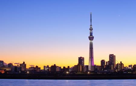 Photo pour Tokyo city view with Tokyo sky tree landmark - image libre de droit