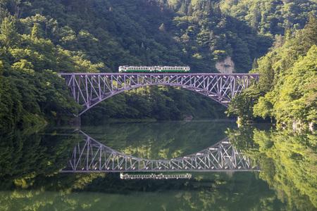 Foto per Tadami railway line and Tadami River in summer season at Fukushima prefecture. - Immagine Royalty Free