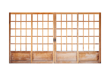 Foto de Shoji , Traditional Japanese door,window or room divider consisting isolated on white background - Imagen libre de derechos