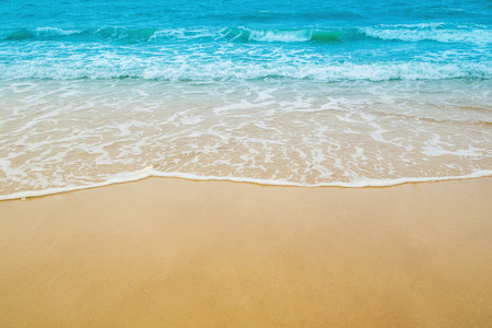 Foto de sand beach and sea wave for natural background - Imagen libre de derechos