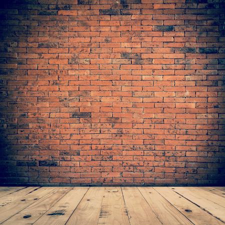 Foto de old room interior and brick wall with wood floor, vintage background - Imagen libre de derechos
