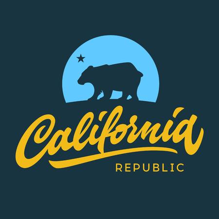 Illustration pour Vintage california republic calligraphic handwritten t-shirt apparel fashion design and bear - image libre de droit