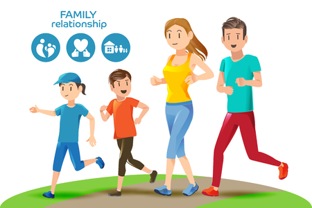 Illustration pour Good relations in family. Basic healthy care for people. Icons and character. Illustration for advertise running sport. - image libre de droit