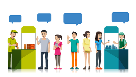 Illustration for People queue to get free sample product. Promotion Counter at store. campaign for supermarket. - Royalty Free Image