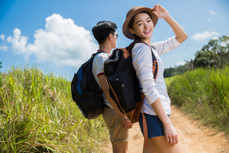 Photo for Asian tourists walking is a wild adventure. - Royalty Free Image