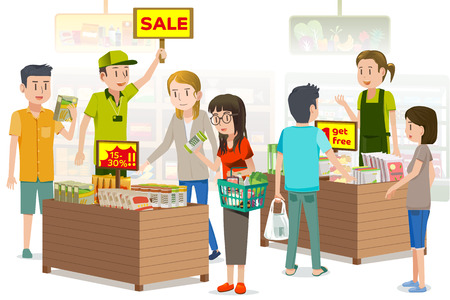 Illustration pour People were buying discounted vegetable products. summer sale. The Promotions in supermarket for the special day. - image libre de droit
