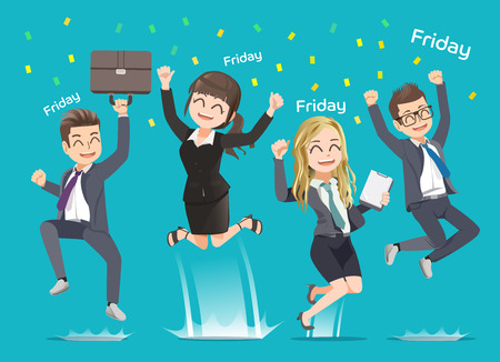 Illustration pour Office man and woman happy when weekend arrive. Party with friend. Work completed.Back to home. - image libre de droit
