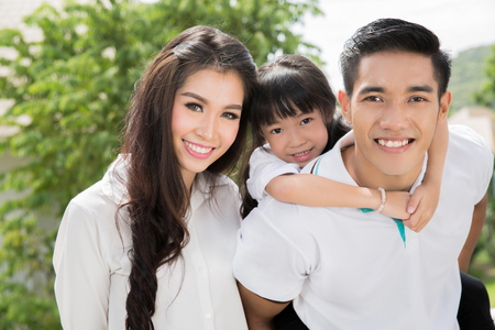 Photo for Asian family portrait with happy people smiling - Royalty Free Image