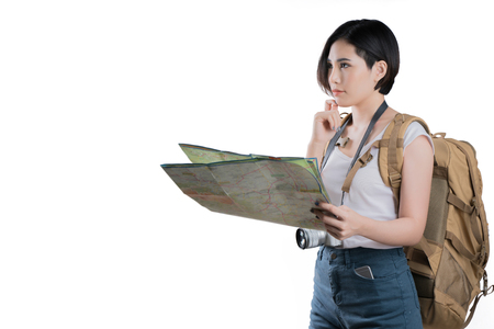 Photo pour Asian woman she are viewing the map she was planning and thinking.studio white background - image libre de droit