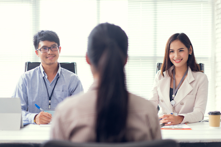 Foto de Job interview - recruiter asking questions - Imagen libre de derechos