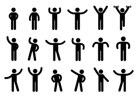 Illustration for Person Basic Body Language Pictogram, symbol sign pictogram on white - Illustration - Royalty Free Image