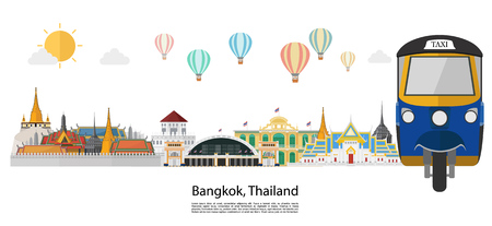 Illustration for Thailand and Landmarks and travel place, island, mountain view. vector illustration - Royalty Free Image