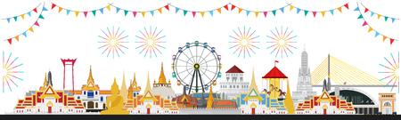 Ilustración de Thai Temple Fair, Thailand with attractions - Imagen libre de derechos