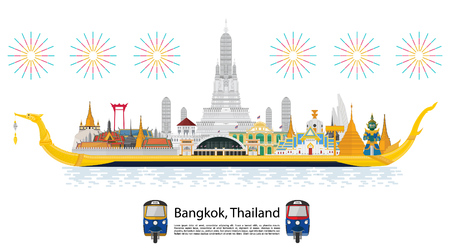Illustration for The Royal Barge Suphannahong in Thailand and Landmarks, Calendar template design - Royalty Free Image