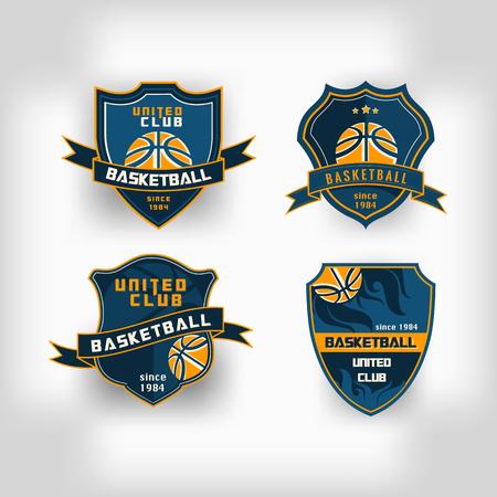 Illustration for Set of basketball college team emblem crest  backgrounds - Royalty Free Image