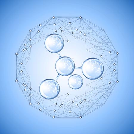 Illustration pour Hyaluronic acid or abstract molecules design - image libre de droit