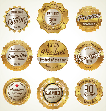 Illustration for Premium quality golden labels collection - Royalty Free Image