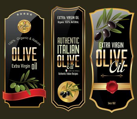Illustration pour Olive gold and black banner collection - image libre de droit
