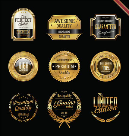 Illustration for Premium quality golden labels and badges - Royalty Free Image